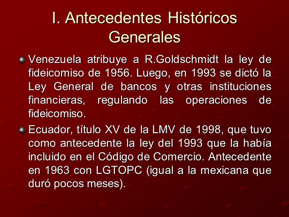 I. Antecedentes Históricos Generales Venezuela atribuye a R.Goldschmidt la ley de fideicomiso de 1956. Luego, en 1993 se dictó la Ley General de banco