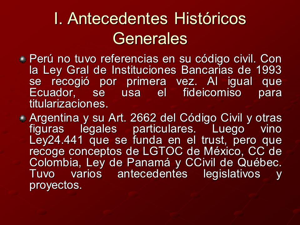 I. Antecedentes Históricos Generales Perú no tuvo referencias en su código civil. Con la Ley Gral de Instituciones Bancarias de 1993 se recogió por pr