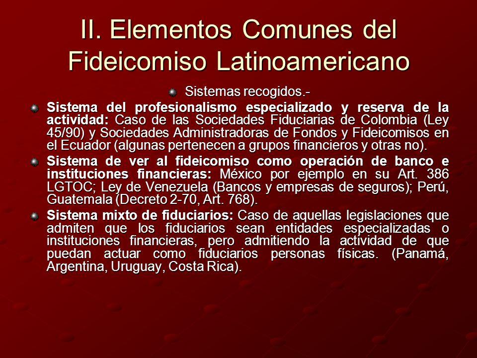 II. Elementos Comunes del Fideicomiso Latinoamericano Sistemas recogidos.- Sistema del profesionalismo especializado y reserva de la actividad: Caso d