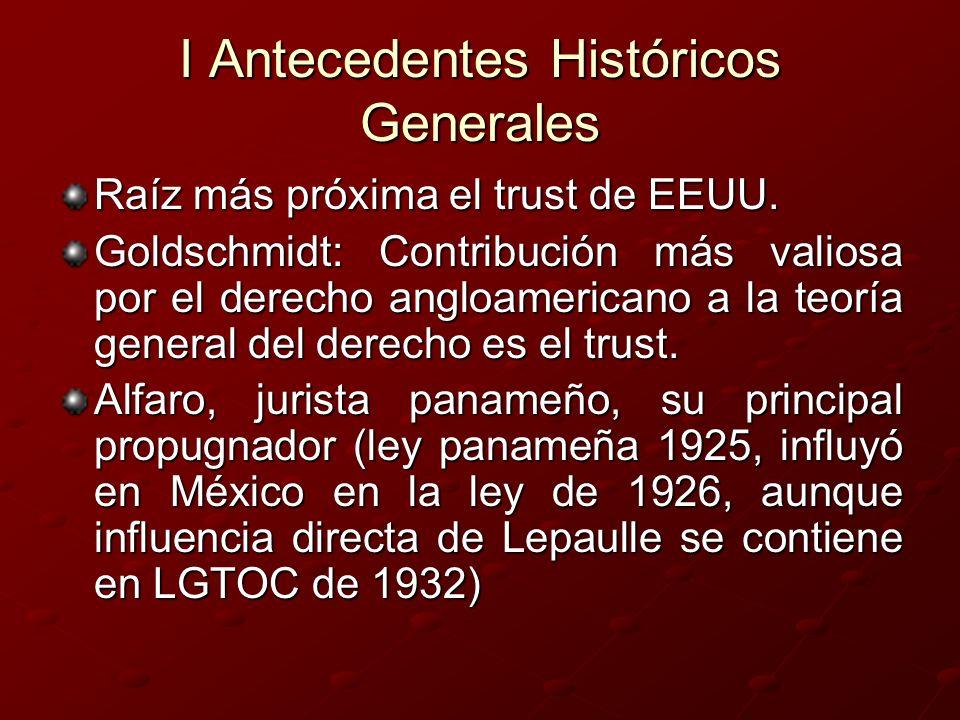 I Antecedentes Históricos Generales Raíz más próxima el trust de EEUU. Goldschmidt: Contribución más valiosa por el derecho angloamericano a la teoría