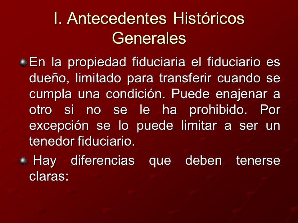 I. Antecedentes Históricos Generales En la propiedad fiduciaria el fiduciario es dueño, limitado para transferir cuando se cumpla una condición. Puede