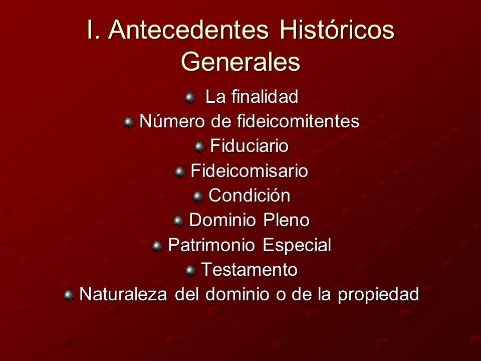 I. Antecedentes Históricos Generales La finalidad La finalidad Número de fideicomitentes FiduciarioFideicomisarioCondición Dominio Pleno Patrimonio Es