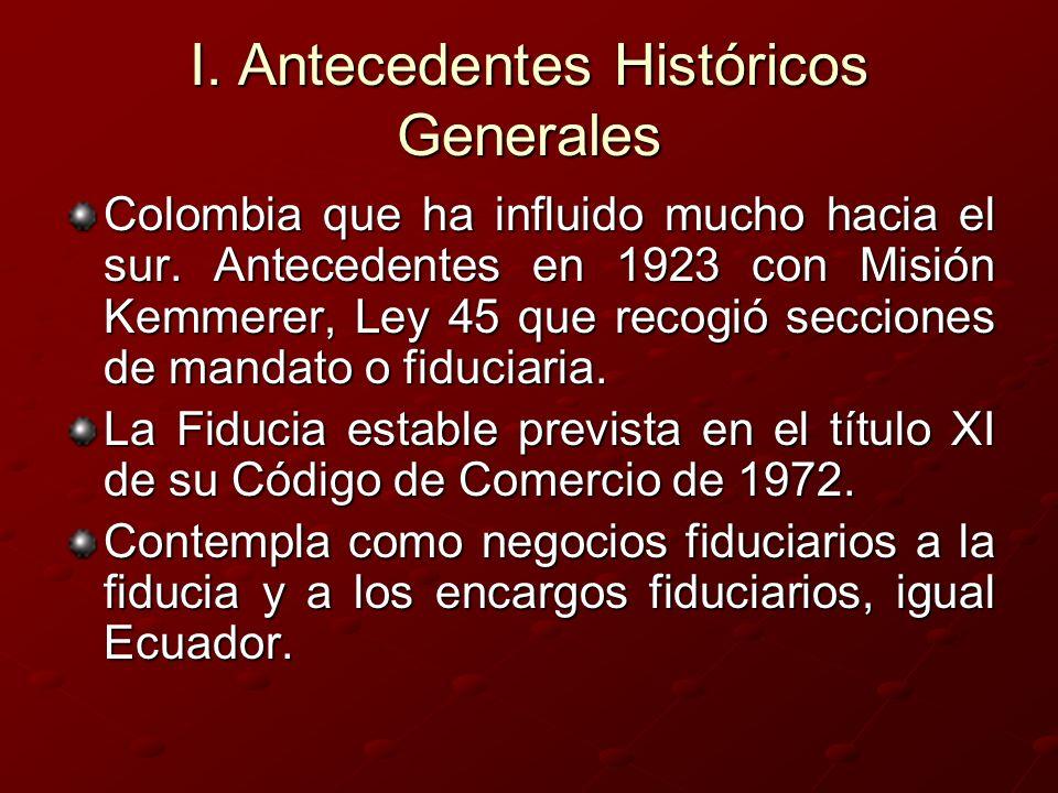 I. Antecedentes Históricos Generales Colombia que ha influido mucho hacia el sur. Antecedentes en 1923 con Misión Kemmerer, Ley 45 que recogió seccion