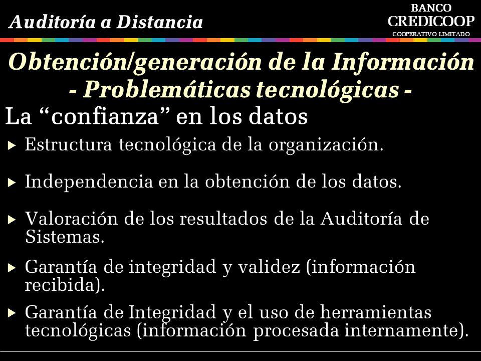 Estructura tecnológica de la organización. Independencia en la obtención de los datos. Garantía de integridad y validez (información recibida). Valora