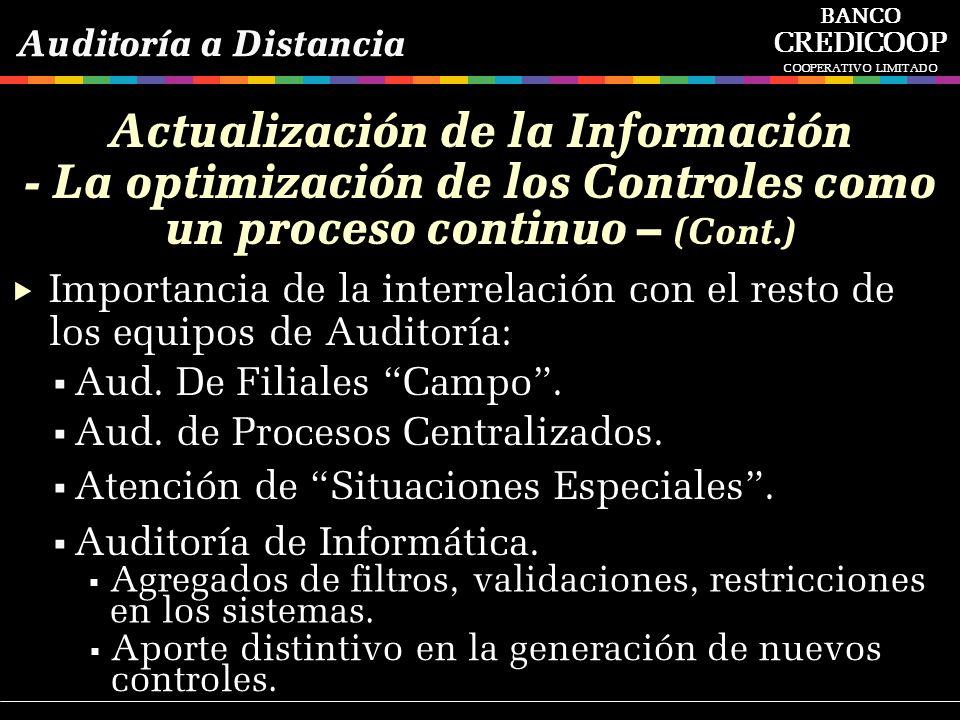 Importancia de la interrelación con el resto de los equipos de Auditoría: Aud. De Filiales Campo. Aud. de Procesos Centralizados. Atención de Situacio