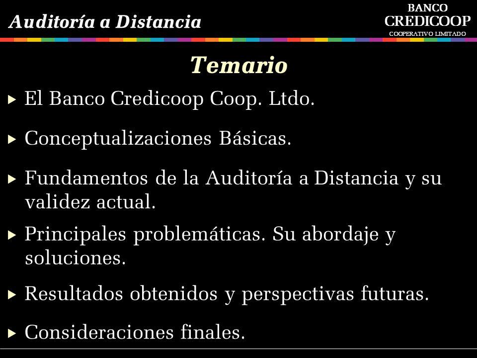 Temario Conceptualizaciones Básicas. Fundamentos de la Auditoría a Distancia y su validez actual. Principales problemáticas. Su abordaje y soluciones.