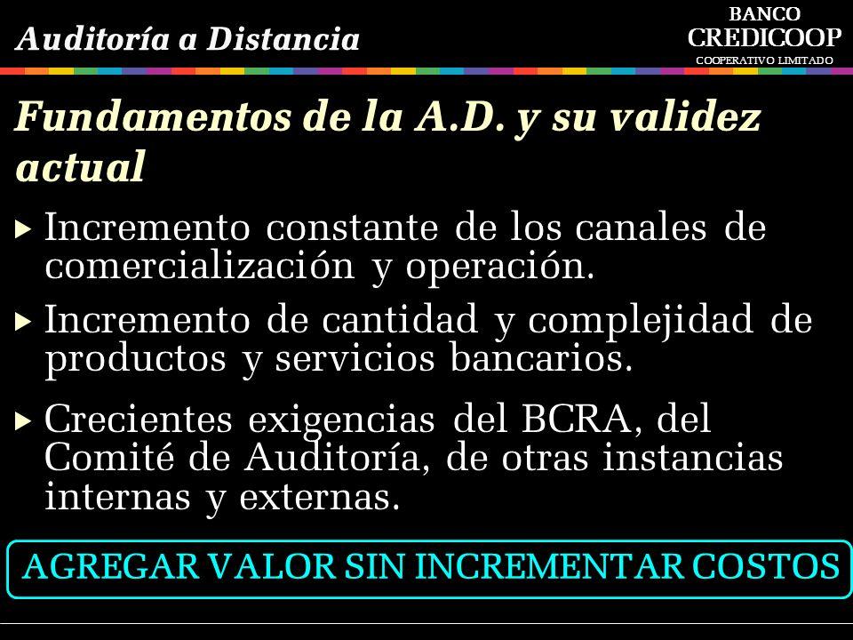 Fundamentos de la A.D. y su validez actual Incremento constante de los canales de comercialización y operación. Incremento de cantidad y complejidad d