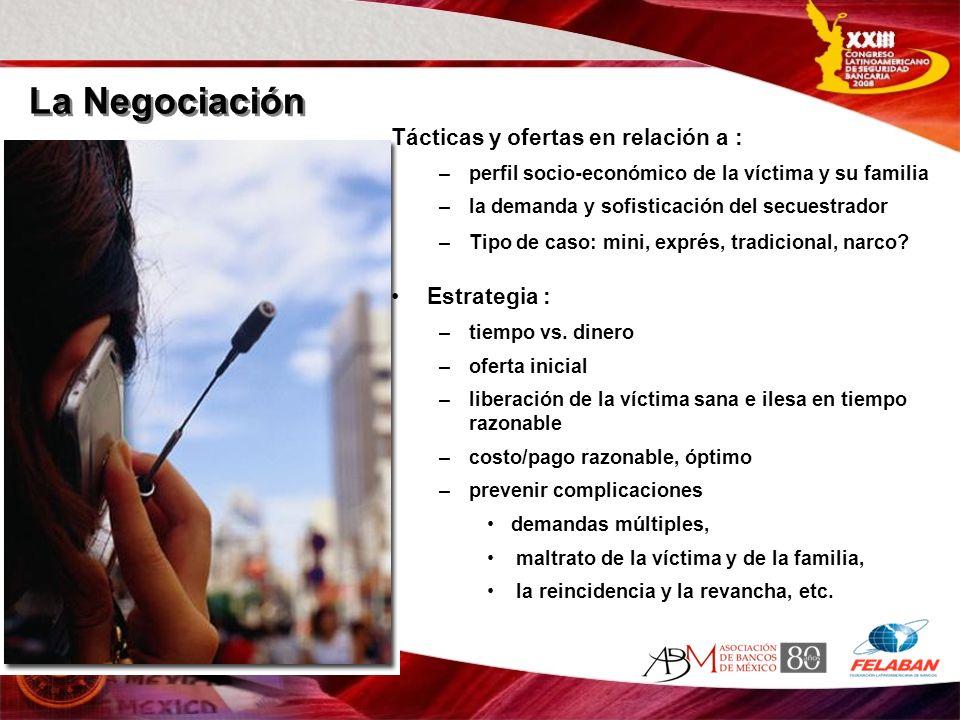 Tácticas y ofertas en relación a : –perfil socio-económico de la víctima y su familia –la demanda y sofisticación del secuestrador –Tipo de caso: mini