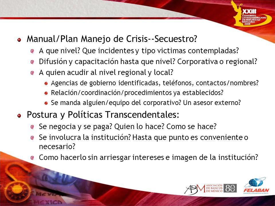Manual/Plan Manejo de Crisis--Secuestro? A que nivel? Que incidentes y tipo victimas contempladas? Difusión y capacitación hasta que nivel? Corporativ