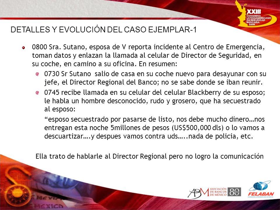0800 Sra. Sutano, esposa de V reporta incidente al Centro de Emergencia, toman datos y enlazan la llamada al celular de Director de Seguridad, en su c