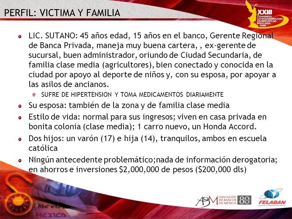 PERFIL: VICTIMA Y FAMILIA LIC. SUTANO: 45 años edad, 15 años en el banco, Gerente Regional de Banca Privada, maneja muy buena cartera,, ex-gerente de