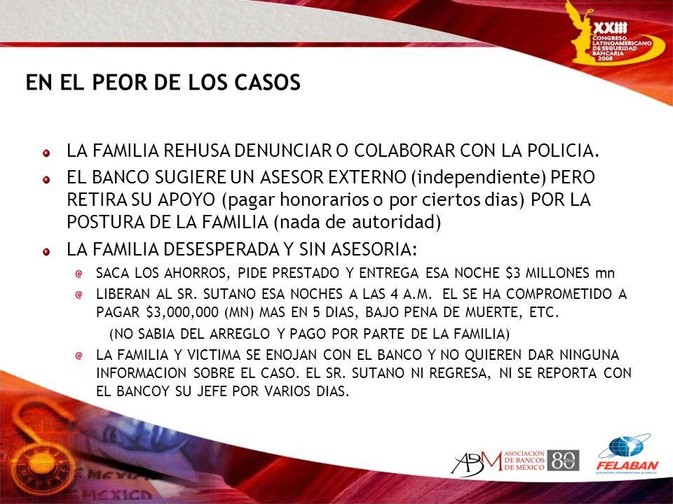 EN EL PEOR DE LOS CASOS LA FAMILIA REHUSA DENUNCIAR O COLABORAR CON LA POLICIA. EL BANCO SUGIERE UN ASESOR EXTERNO (independiente) PERO RETIRA SU APOY