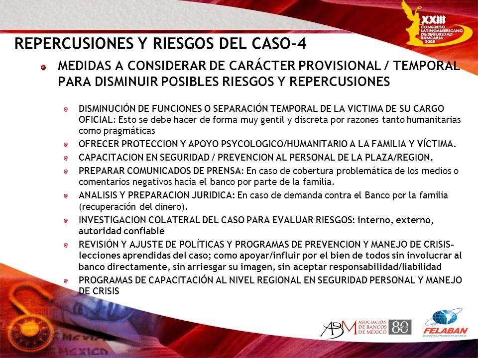 REPERCUSIONES Y RIESGOS DEL CASO-4 MEDIDAS A CONSIDERAR DE CARÁCTER PROVISIONAL / TEMPORAL PARA DISMINUIR POSIBLES RIESGOS Y REPERCUSIONES DISMINUCIÓN