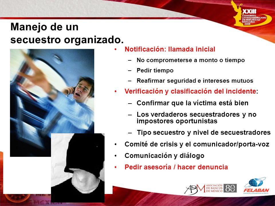 REPERCUSIONES Y RIESGOS DEL CASO-5 Autoridades: contacto con la dependencia apropiada y al mas alto nivel Banco: Establecer mecanismo de traslado a la familia de manera humana y pragmática del manejo de la crisis.