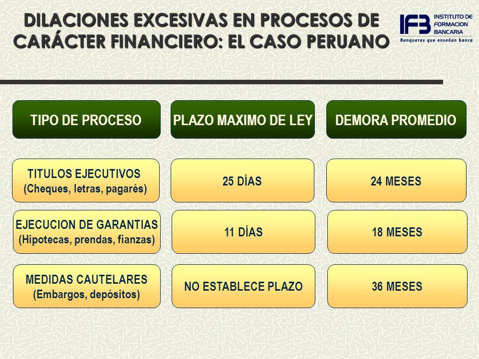 DEMORA PROMEDIOPLAZO MAXIMO DE LEYTIPO DE PROCESO DILACIONES EXCESIVAS EN PROCESOS DE CARÁCTER FINANCIERO: EL CASO PERUANO 25 DÍAS24 MESES TITULOS EJECUTIVOS (Cheques, letras, pagarés) 11 DÍAS18 MESES EJECUCION DE GARANTIAS (Hipotecas, prendas, fianzas) NO ESTABLECE PLAZO36 MESES MEDIDAS CAUTELARES (Embargos, depósitos)