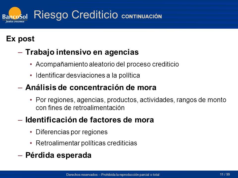 Derechos reservados – Prohibida la reproducción parcial o total 11 / 99 Riesgo Crediticio CONTINUACIÓN Ex post –Trabajo intensivo en agencias Acompaña