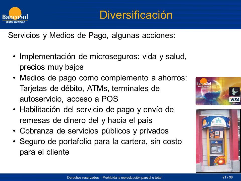 Derechos reservados – Prohibida la reproducción parcial o total 21 / 99 Diversificación Servicios y Medios de Pago, algunas acciones: Implementación d