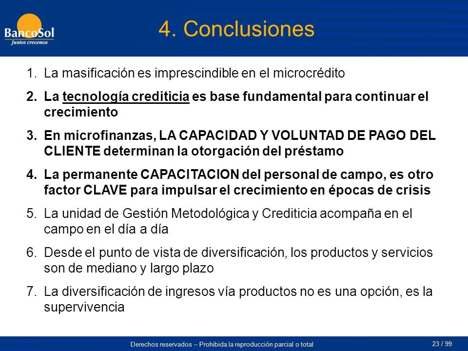 Derechos reservados – Prohibida la reproducción parcial o total 23 / 99 4. Conclusiones 1.La masificación es imprescindible en el microcrédito 2.La te