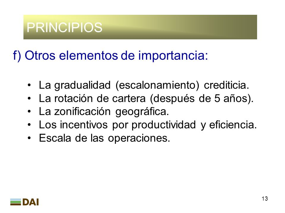 13 PRINCIPIOS f)Otros elementos de importancia: La gradualidad (escalonamiento) crediticia. La rotación de cartera (después de 5 años). La zonificació