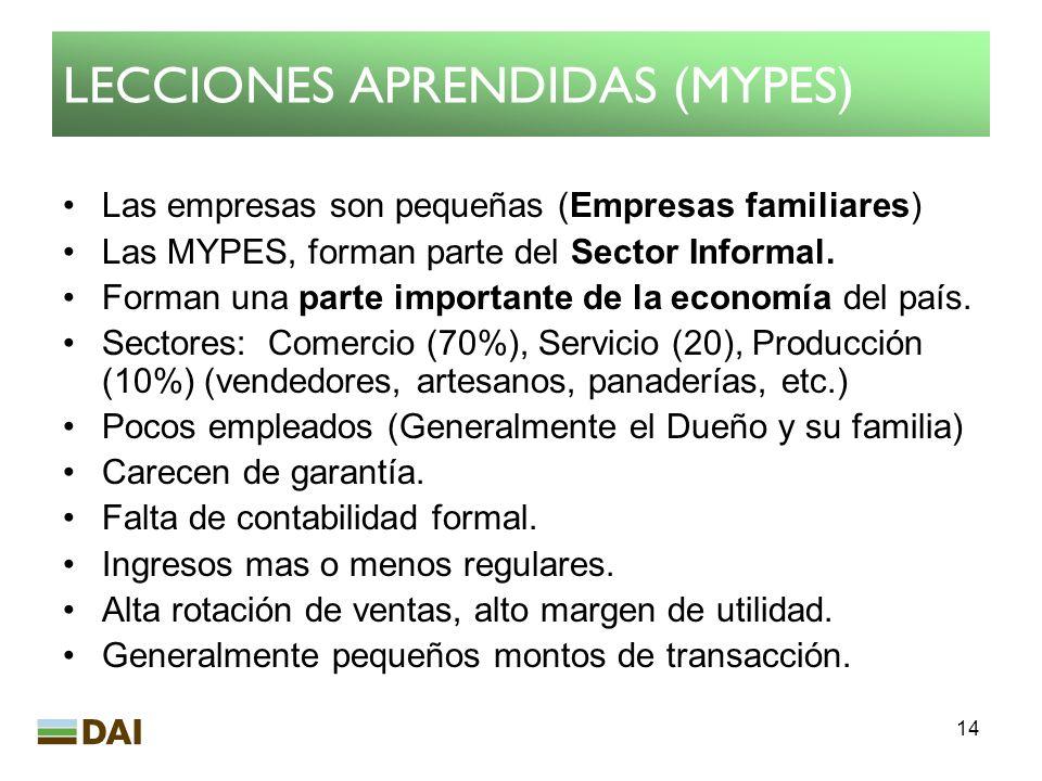 14 LECCIONES APRENDIDAS (MYPES) Las empresas son pequeñas (Empresas familiares) Las MYPES, forman parte del Sector Informal. Forman una parte importan