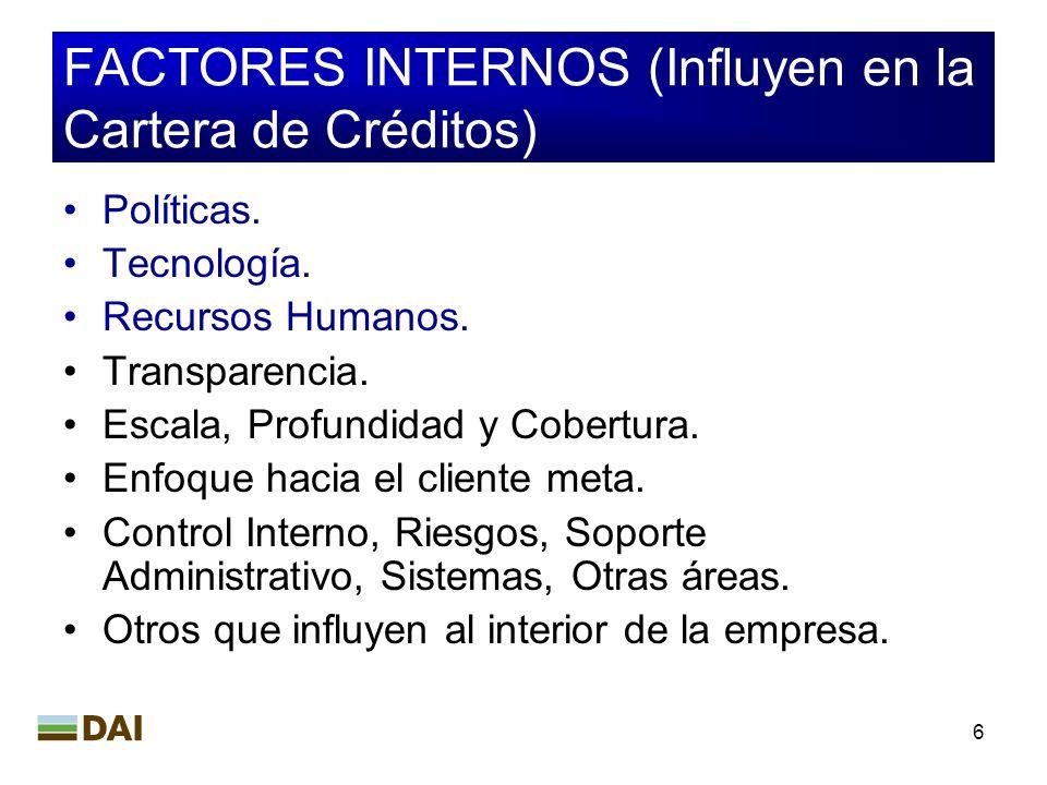6 FACTORES INTERNOS (Influyen en la Cartera de Créditos) Políticas. Tecnología. Recursos Humanos. Transparencia. Escala, Profundidad y Cobertura. Enfo