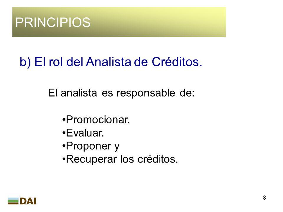 8 PRINCIPIOS b) El rol del Analista de Créditos. El analista es responsable de: Promocionar. Evaluar. Proponer y Recuperar los créditos.