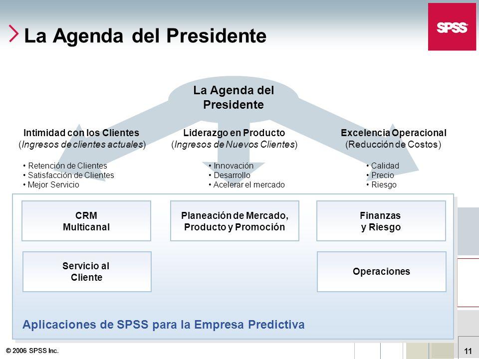 © 2006 SPSS Inc. 11 La Agenda del Presidente Excelencia Operacional (Reducción de Costos) Liderazgo en Producto (Ingresos de Nuevos Clientes) Intimida