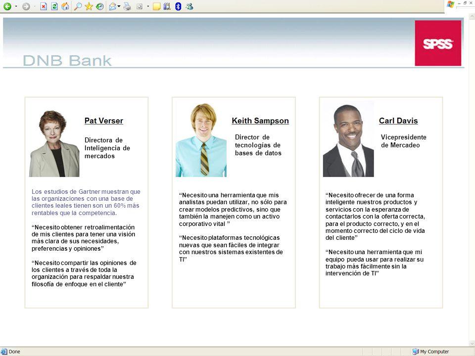 © 2006 SPSS Inc. 13 Directora de Inteligencia de mercados Los estudios de Gartner muestran que las organizaciones con una base de clientes leales tien