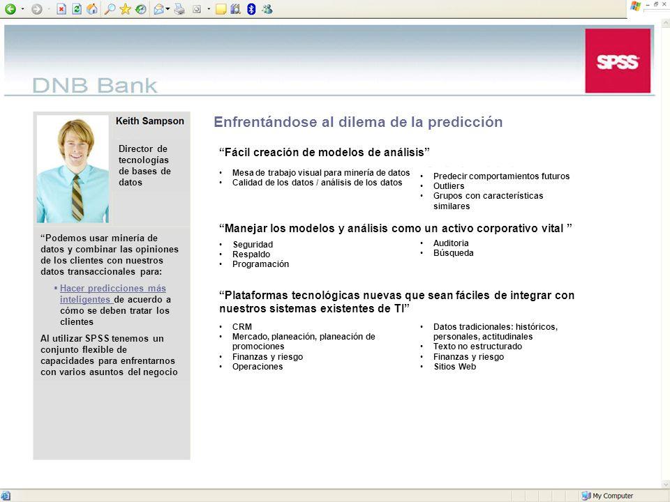 © 2006 SPSS Inc. 15 Enfrentándose al dilema de la predicción Fácil creación de modelos de análisis Mesa de trabajo visual para minería de datos Calida