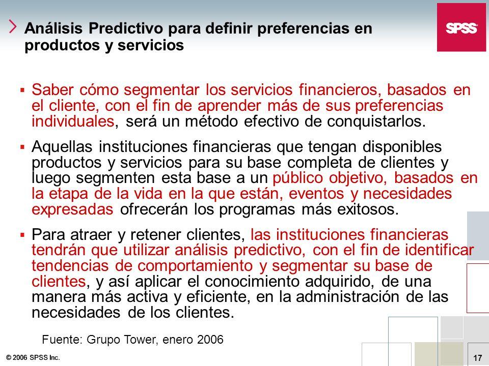 © 2006 SPSS Inc. 17 Análisis Predictivo para definir preferencias en productos y servicios Saber cómo segmentar los servicios financieros, basados en