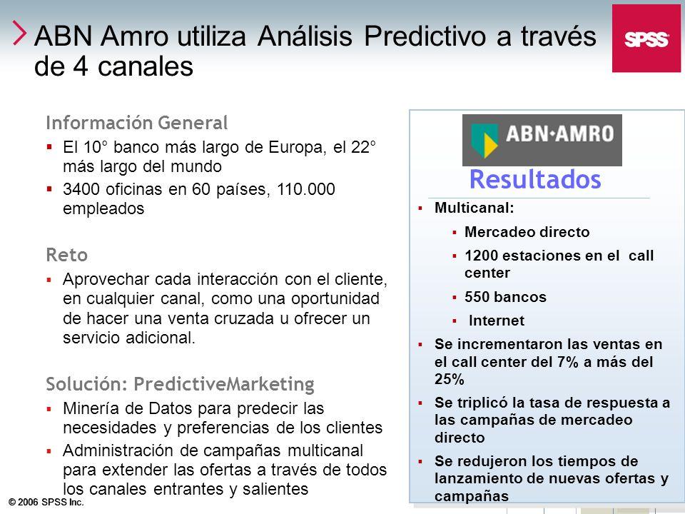 © 2006 SPSS Inc. 27 ABN Amro utiliza Análisis Predictivo a través de 4 canales Información General El 10° banco más largo de Europa, el 22° más largo