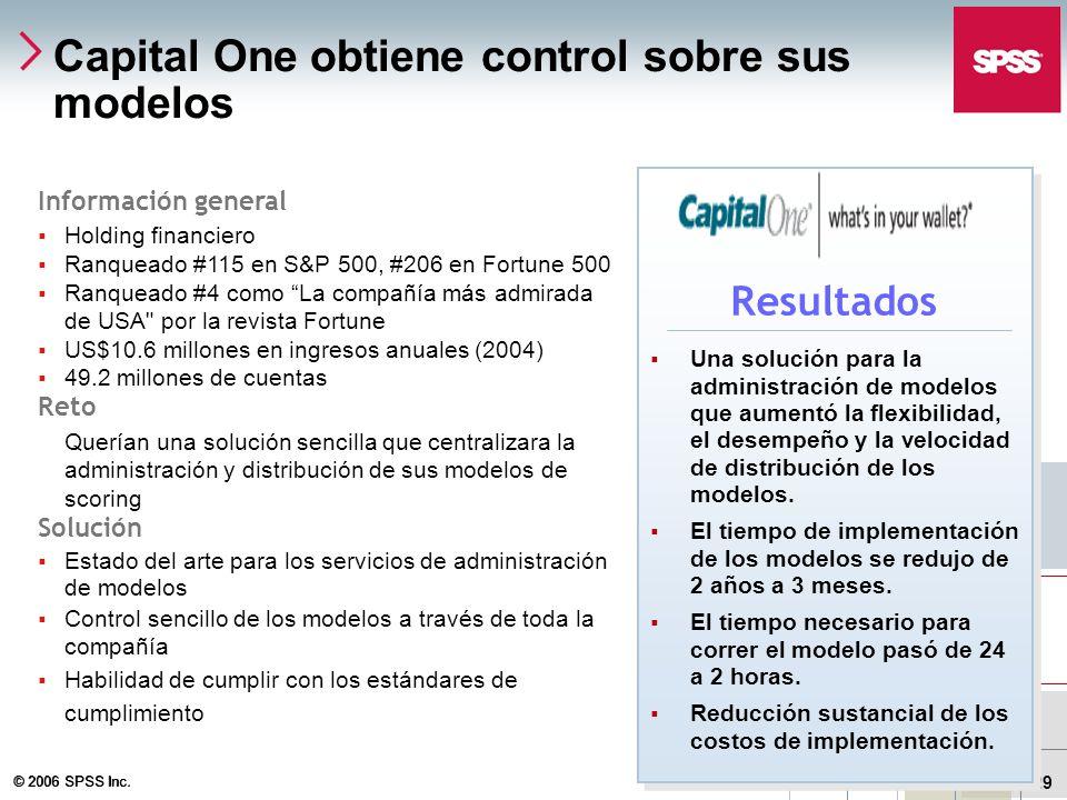 © 2006 SPSS Inc. 29 Capital One obtiene control sobre sus modelos Información general Holding financiero Ranqueado #115 en S&P 500, #206 en Fortune 50