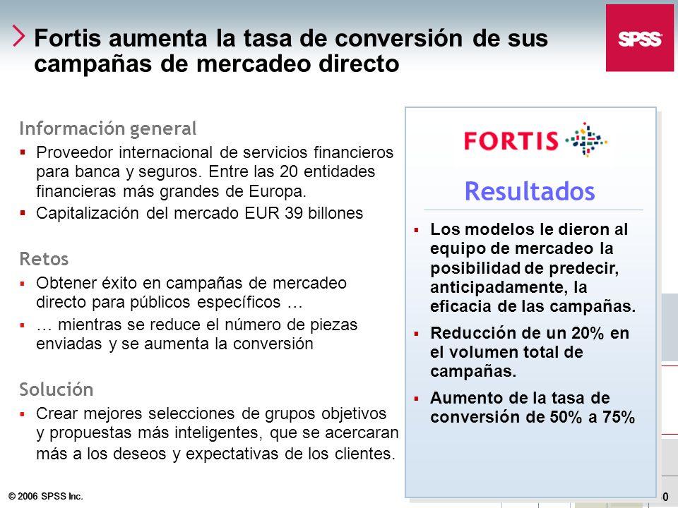 © 2006 SPSS Inc. 30 Fortis aumenta la tasa de conversión de sus campañas de mercadeo directo Información general Proveedor internacional de servicios