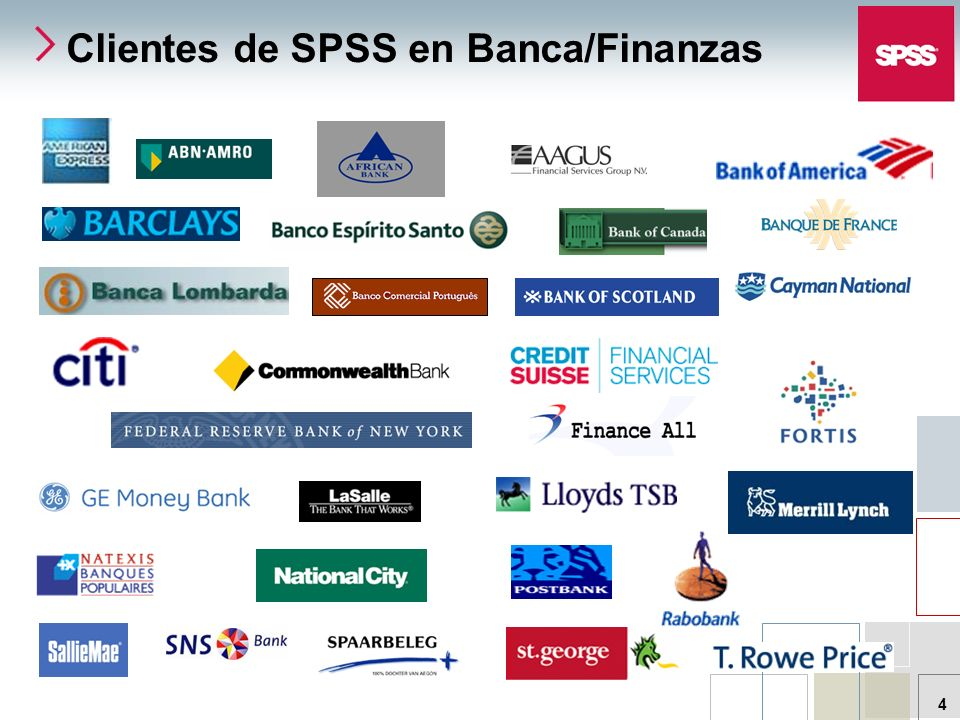 © 2006 SPSS Inc. 4 Clientes de SPSS en Banca/Finanzas