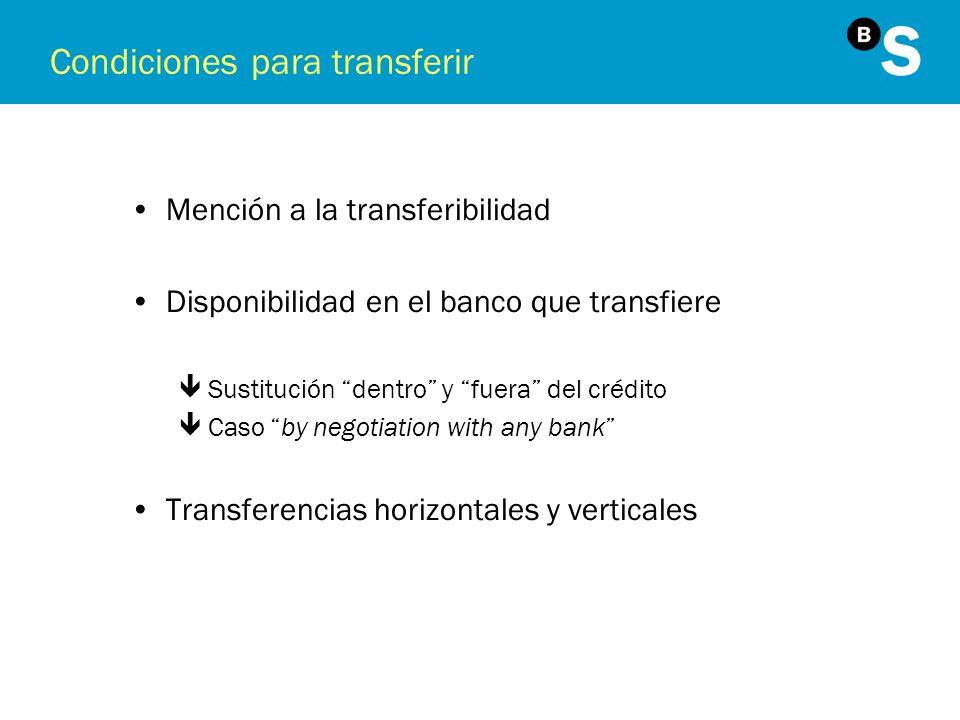 Condiciones para transferir Mención a la transferibilidad Disponibilidad en el banco que transfiere êSustitución dentro y fuera del crédito êCaso by n