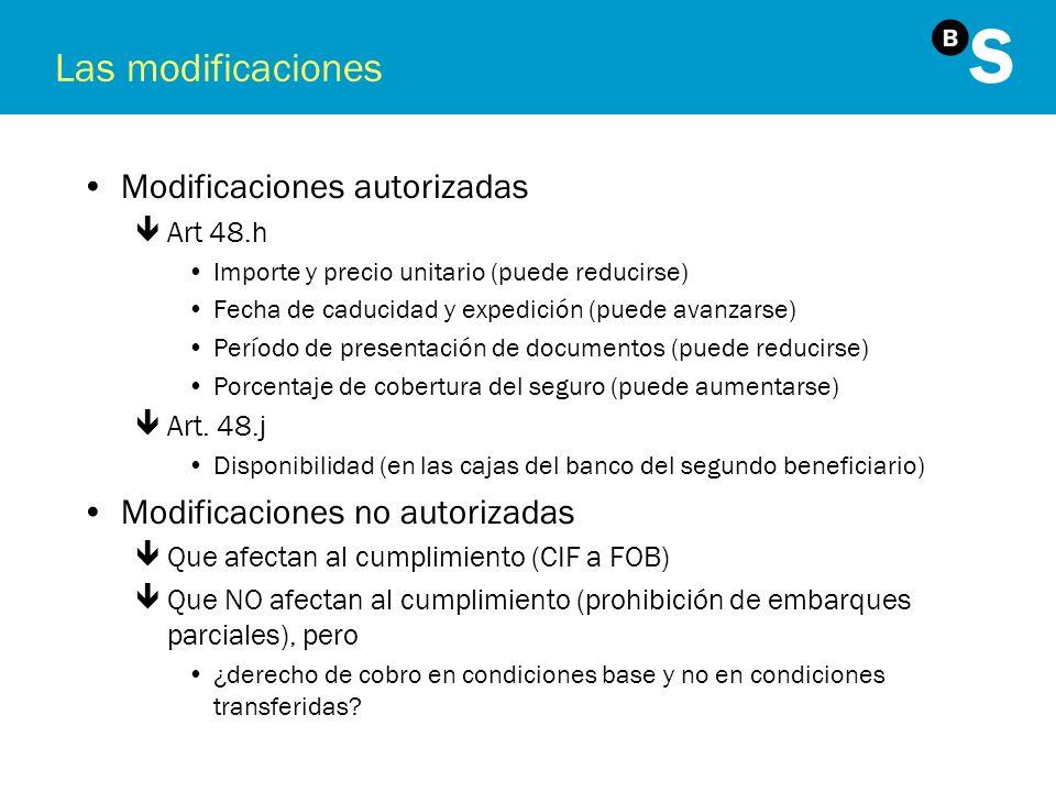 Las modificaciones Modificaciones autorizadas êArt 48.h Importe y precio unitario (puede reducirse) Fecha de caducidad y expedición (puede avanzarse)