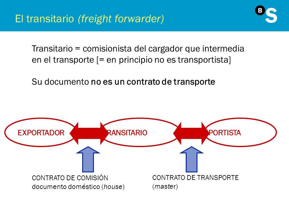 El transitario (freight forwarder) Transitario = comisionista del cargador que intermedia en el transporte [= en principio no es transportista] Su doc