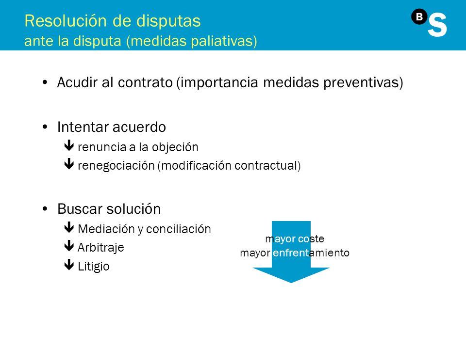 Resolución de disputas ante la disputa (medidas paliativas) Acudir al contrato (importancia medidas preventivas) Intentar acuerdo êrenuncia a la objec