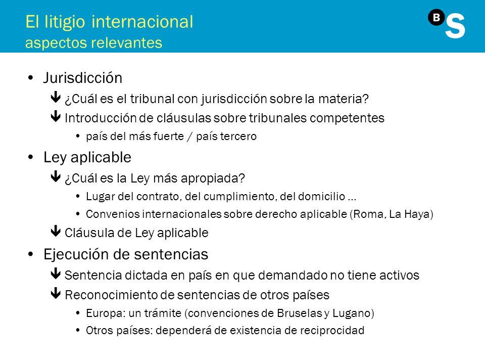 El litigio internacional aspectos relevantes Jurisdicción ê¿Cuál es el tribunal con jurisdicción sobre la materia? êIntroducción de cláusulas sobre tr