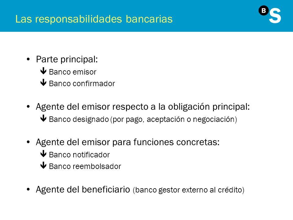 Las responsabilidades bancarias Parte principal: êBanco emisor êBanco confirmador Agente del emisor respecto a la obligación principal: êBanco designa
