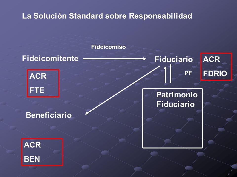 La Solución Standard sobre Responsabilidad Fideicomitente Fideicomiso Fiduciario Patrimonio Fiduciario PF Beneficiario ACR FDRIO ACR BEN ACR FTE