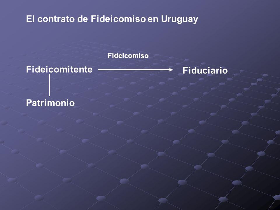 El contrato de Fideicomiso en Uruguay Fideicomitente Patrimonio Fideicomiso Fiduciario
