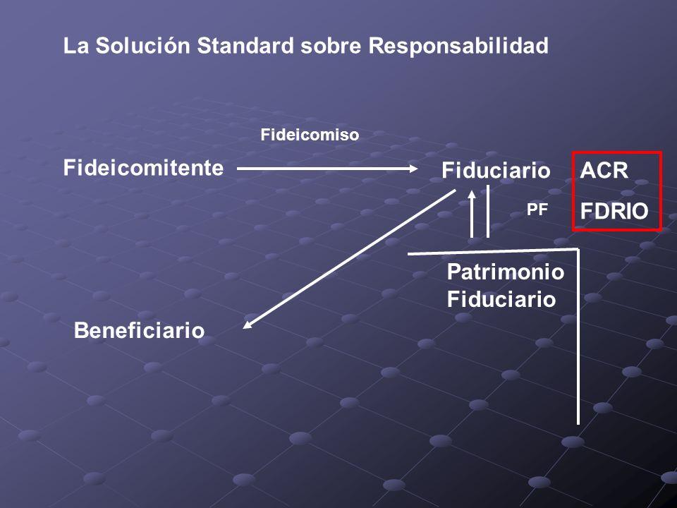 La Solución Standard sobre Responsabilidad Fideicomitente Fideicomiso Fiduciario Patrimonio Fiduciario PF Beneficiario ACR FDRIO