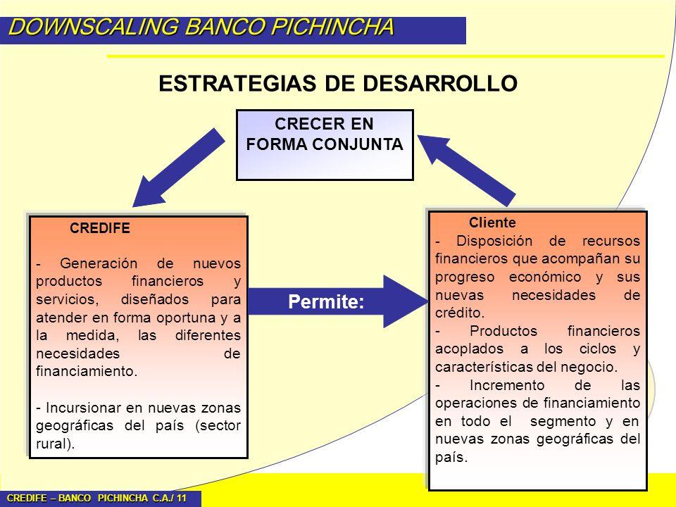 CREDIFE – BANCO PICHINCHA C.A./ 11 DOWNSCALING BANCO PICHINCHA ESTRATEGIAS DE DESARROLLO CRECER EN FORMA CONJUNTA CREDIFE - Generación de nuevos produ