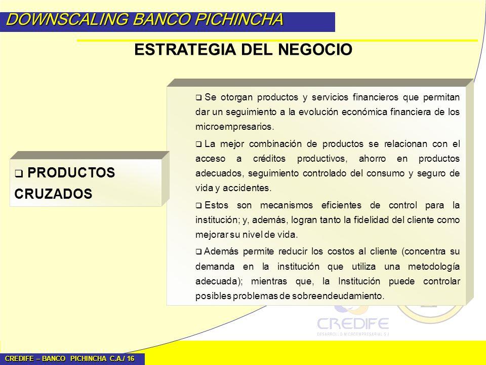 CREDIFE – BANCO PICHINCHA C.A./ 16 DOWNSCALING BANCO PICHINCHA ESTRATEGIA DEL NEGOCIO Se otorgan productos y servicios financieros que permitan dar un
