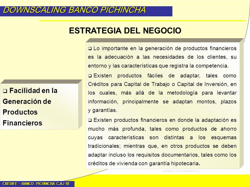 CREDIFE – BANCO PICHINCHA C.A./ 18 DOWNSCALING BANCO PICHINCHA ESTRATEGIA DEL NEGOCIO Lo importante en la generación de productos financieros es la ad