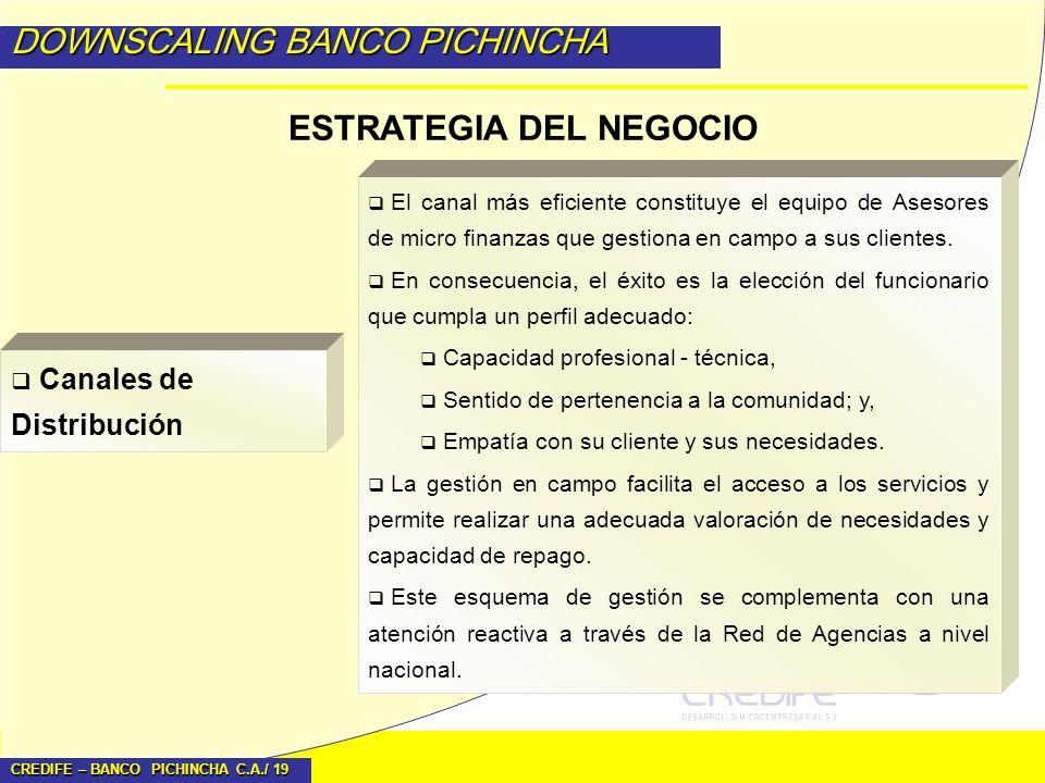CREDIFE – BANCO PICHINCHA C.A./ 19 DOWNSCALING BANCO PICHINCHA ESTRATEGIA DEL NEGOCIO El canal más eficiente constituye el equipo de Asesores de micro