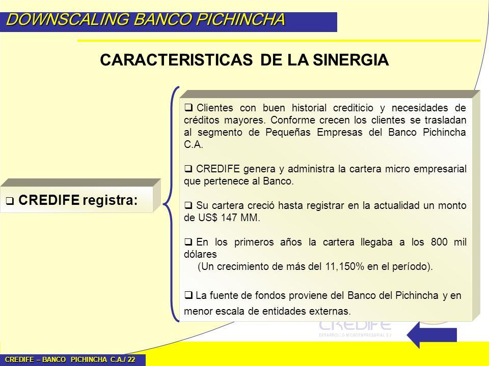 CREDIFE – BANCO PICHINCHA C.A./ 22 DOWNSCALING BANCO PICHINCHA CARACTERISTICAS DE LA SINERGIA CREDIFE registra: Clientes con buen historial crediticio