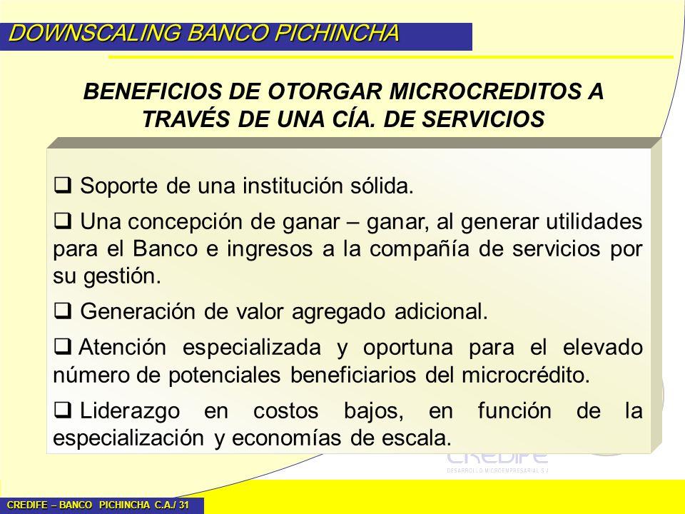 CREDIFE – BANCO PICHINCHA C.A./ 31 DOWNSCALING BANCO PICHINCHA BENEFICIOS DE OTORGAR MICROCREDITOS A TRAVÉS DE UNA CÍA. DE SERVICIOS Soporte de una in