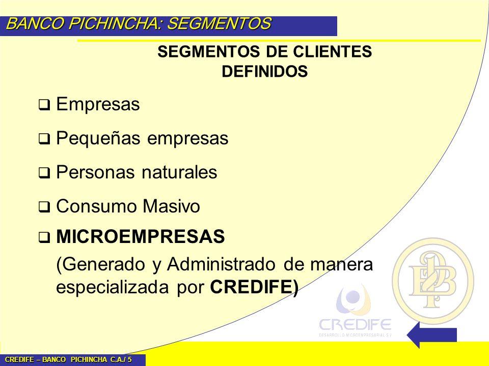 CREDIFE – BANCO PICHINCHA C.A./ 5 BANCO PICHINCHA: SEGMENTOS Empresas Pequeñas empresas Personas naturales Consumo Masivo MICROEMPRESAS (Generado y Ad